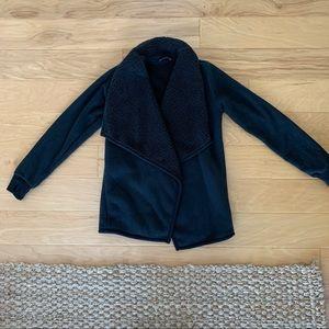 Black fleece wrap jacket